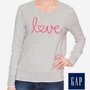 "GAP Intarsia Graphic ""LOVE"" Crewneck Sweater TOP"